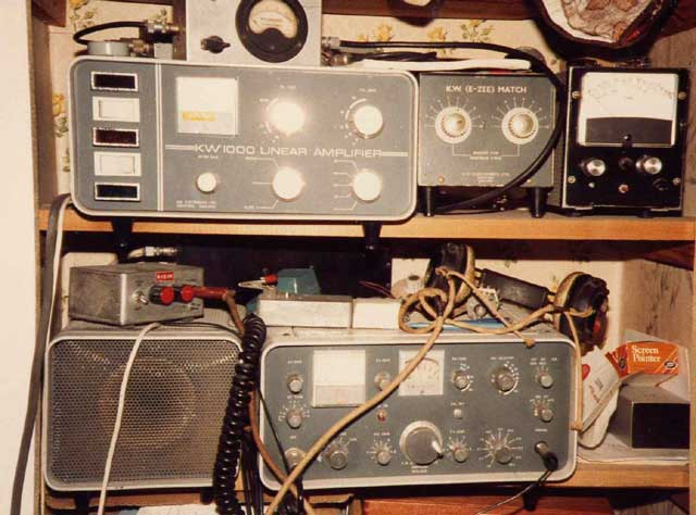 What a mess! The later KW200A (Lower shelf) and the KW1000 Linear Amplifier (above). The units next to the linear are a KW E-Zee match and a home constructed Z-Match